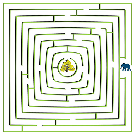 round square maze with elephant and tree, abstract vector art illustration