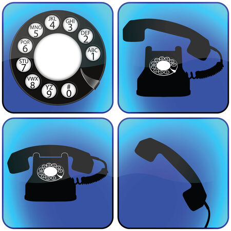 telephone icons collection against white background, abstract vector art illustration Stock Vector - 8384382