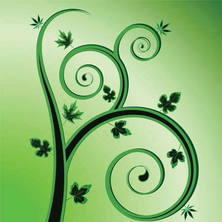 green plant design, abstract vector art illustration Vector