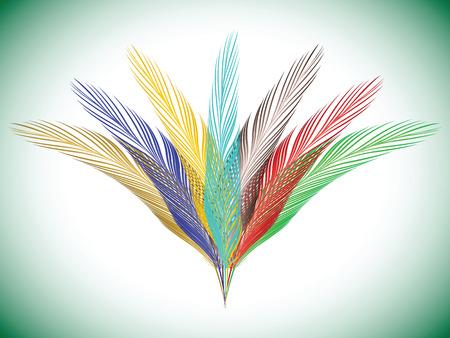 feathers fan, abstract vector art illustration
