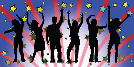 party people silhouettes composition, abstract vector art illustration Vectores