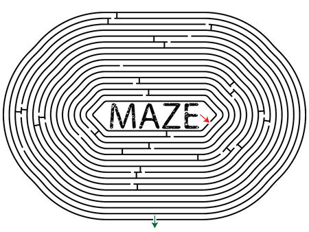 rounded maze against white background, abstract vector art illustration Vector