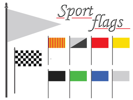 rallying: sport flags collection against white background, abstract vector art illustration