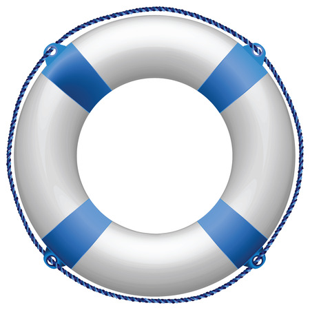 life buoy blue against white background, abstract vector art illustration Vectores