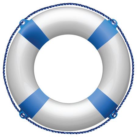 aro salvavidas: boya de vida azul sobre fondo blanco, ilustraci�n de arte abstracto de vector Vectores