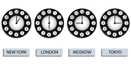 time zone clocks for four different countries against white background, abstract art illustration