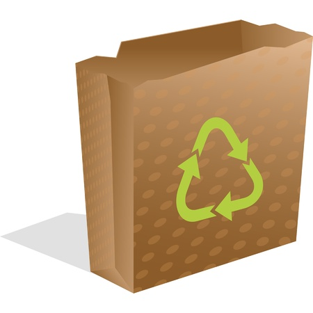 recycling paper bag isolated on white, abstract  art illustration Stock Photo