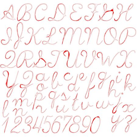 red abstract alphabet isolated on white background, vector art illustration Zdjęcie Seryjne