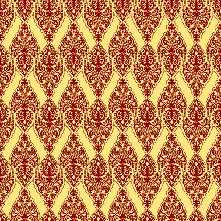 red damask texture, abstract seamless pattern; vector art illustration