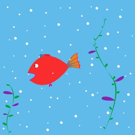 red fish cartoon,   art illustration illustration