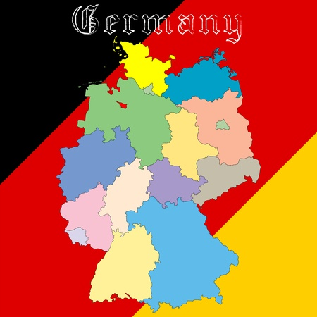 germany map over national colors, abstract  art illustration illustration