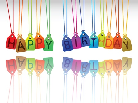 happy birthday tags, abstract vector art illustration Foto de archivo
