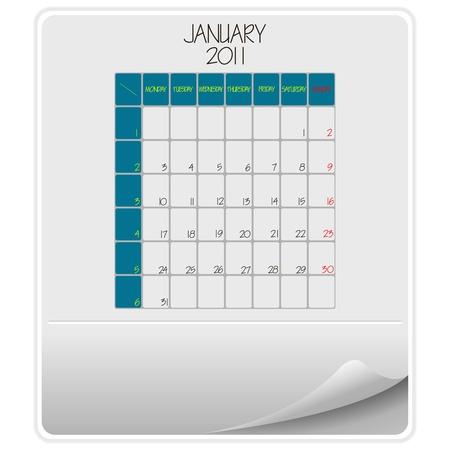 2011 paper calendar January, abstract  art illustration illustration
