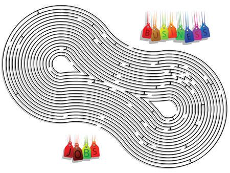 abstract conceptual maze against white background, vector art illustration illustration