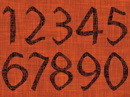 abstract numbers over orange texture, vector art illustration illustration