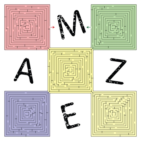 abstract square maze against white background, vector art illustration illustration