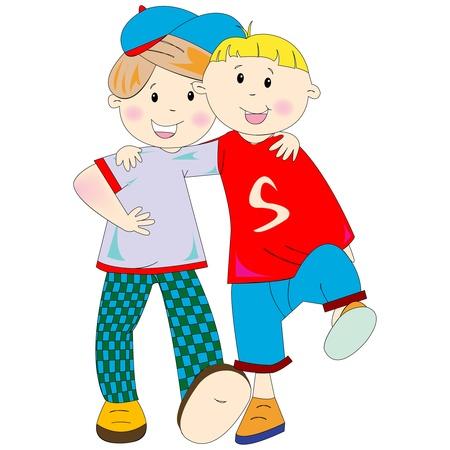 mejores amigos dibujos animados sobre fondo blanco, ilustración de arte abstracto Foto de archivo - 8545743