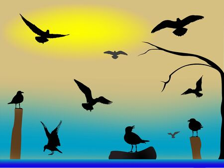 birds paradise, abstract art illustration Stock Illustration - 8545755