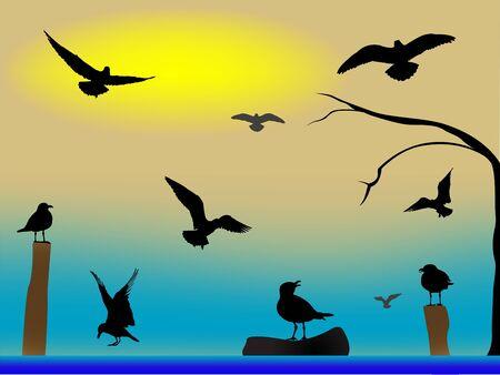 birds paradise, abstract art illustration Stock Illustration - 8545755
