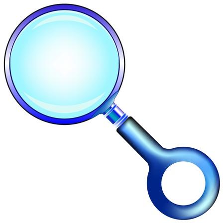 blue magnifying glass against white background, abstract  art illustration Stock Illustration - 8544763