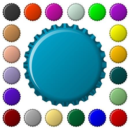 bottle caps in colors collection, abstract vector art illustration illustration