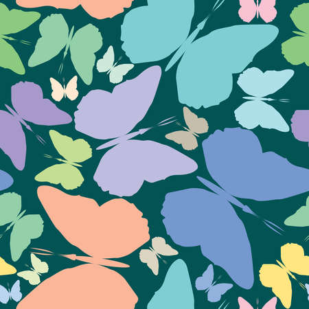 butterflies seamless pattern over blue background, abstract art illustration illustration