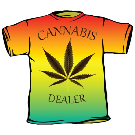 cannabis dealer tshirt against white background, abstract vector art illustration
