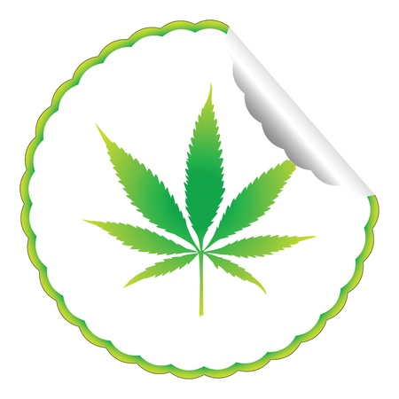 cannabis leaf label against white background, abstract  art illustration Stock Illustration - 8544762
