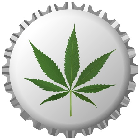 ganja: cannabis leaf on bottle cap against white background, abstract art illustration