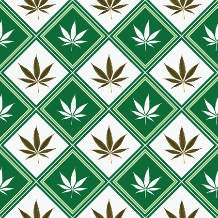 marijuana: cannabis seamless texture, abstract pattern; vector art illustration Stock Photo