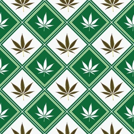 cannabis seamless texture, abstract pattern; vector art illustration Foto de archivo