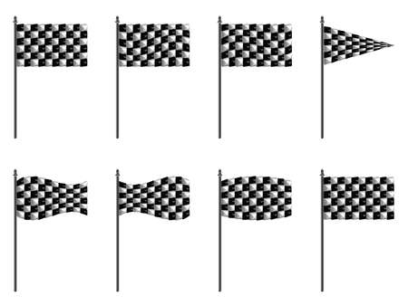 rallying: checkered 3d flags against white background, abstract  art illustration