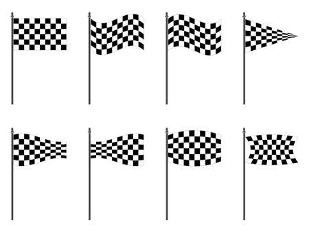 rallying: checkered flags collection against white background, abstract   art illustration