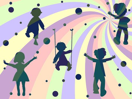 children rays and bubbles composition, abstract art illustration Stock Illustration - 8545744