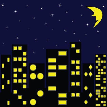 ciudad de arte abstracto, noche, ilustración