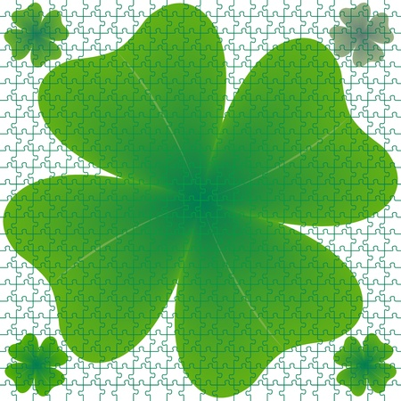 clover puzzle, abstract art illustration Stock Illustration - 8546035