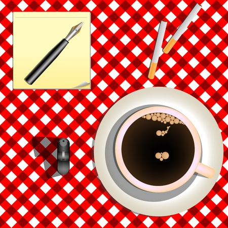 coffee and cigarettes against red picnic mesh, abstract vector art illustration Stock Illustration - 8545961
