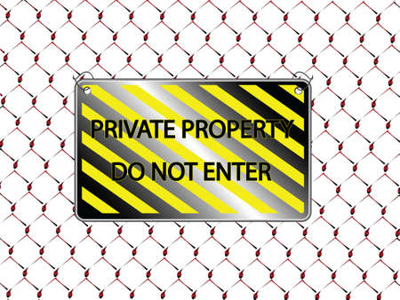 do not enter inscription and metallic fence, abstract   art illustration illustration