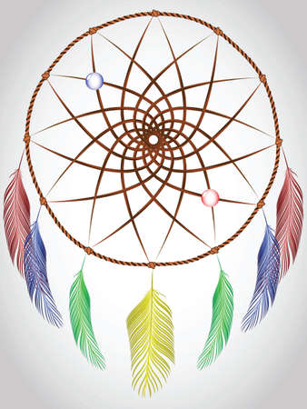 dream catcher, abstract vector art illustration