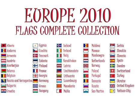 europe 2010 flags collection against white background, abstract vector art illustration Stock Illustration - 8545123