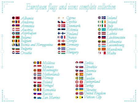 alphabetical order: european flags and icons collection in alphabetical order, abstract vector art illustration