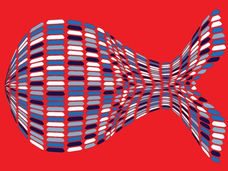 fishy: fishy shape against red background, abstract vector art illustration