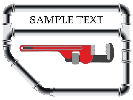 pipe wrench: fittings background, abstract vector art illustration Stock Photo