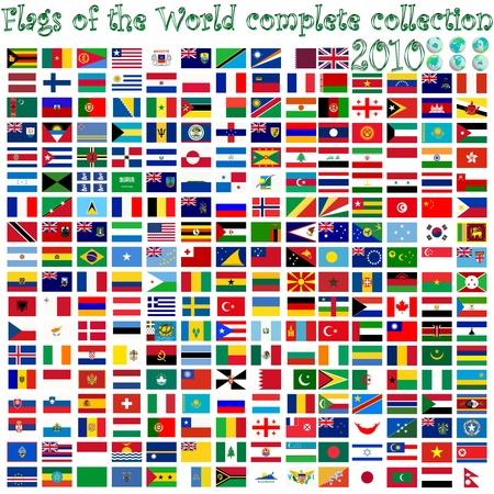 flags of the world and earth globes, abstract vector art illustration