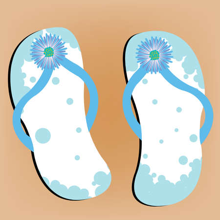 flip flops on sandy beach, abstract vector art illustration illustration