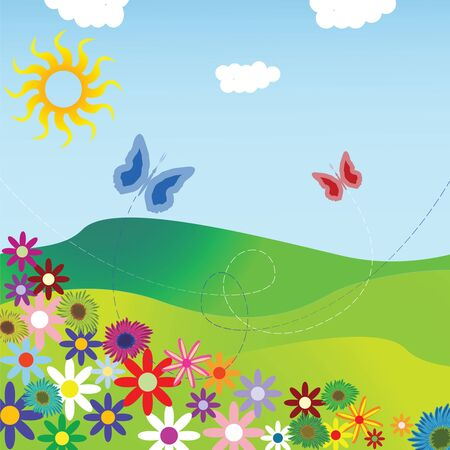 flowers and field composition, abstract vector art illustration