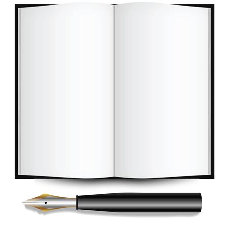 fountain ink pen and open book against white background, abstract vector art illustration Stock Illustration - 8545673