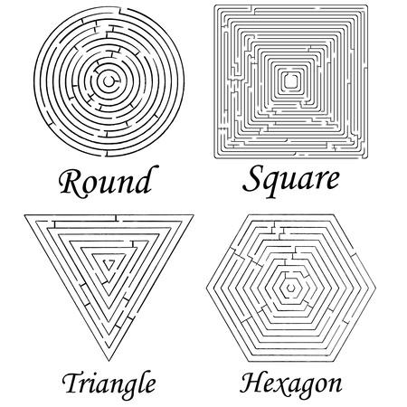 four mazes shapes against white background, abstract   art illustration illustration