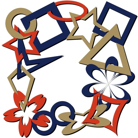 geometric shapes chain with shadows, abstract art illustration 版權商用圖片