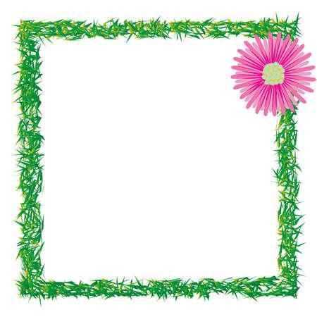 grass and flower photo frame, abstract art illustration Stock Illustration - 8545095